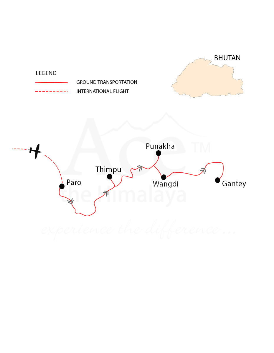 Bhutan Multi Sports Tour Map