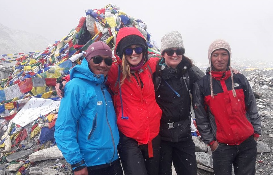 Pasang sherpa with his two clients on EBC