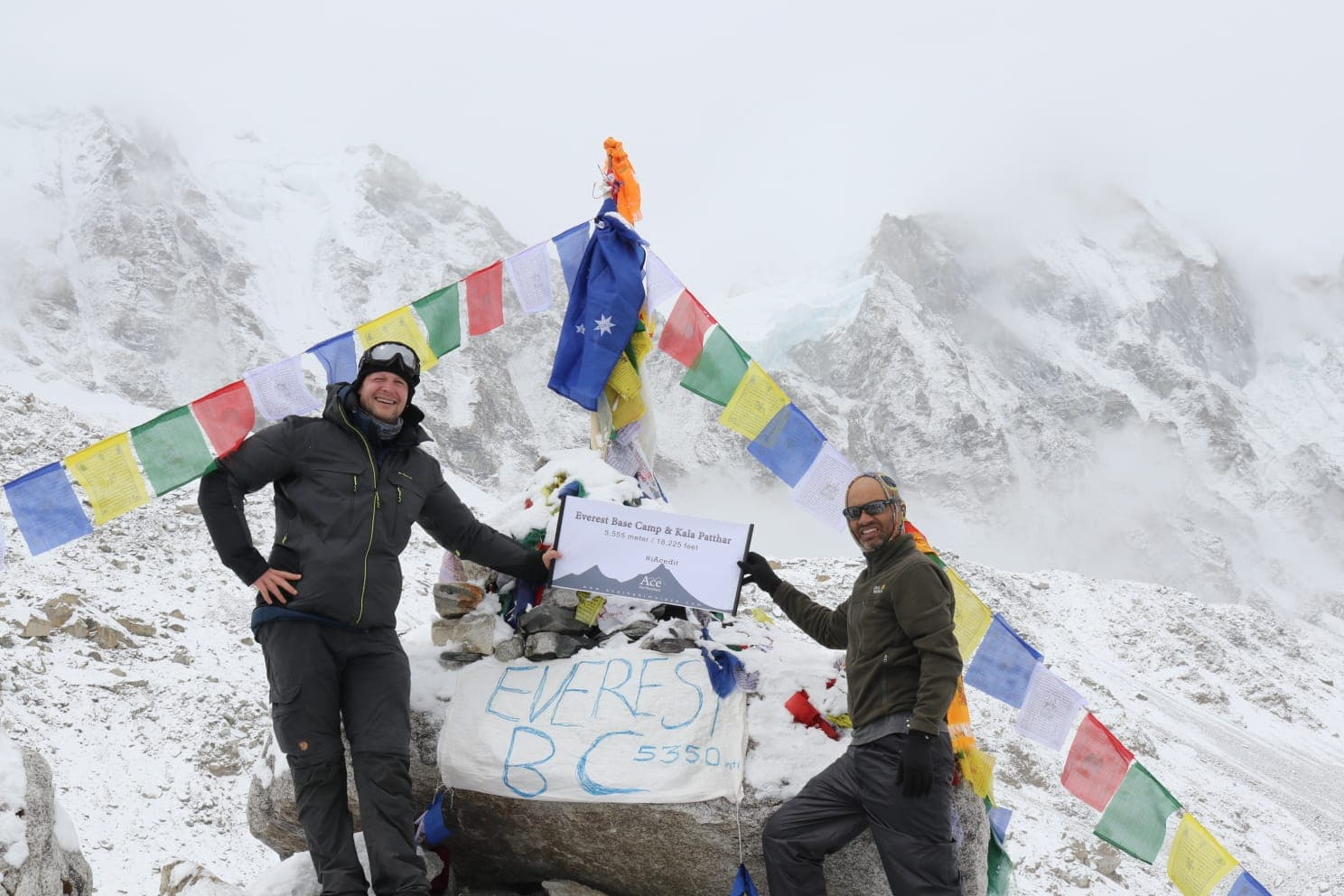 Ram and his client holding banner in Everest Bbase Camp